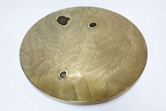 Etched Brass Coffee Table with Agate Inlays by Fernand Dresse