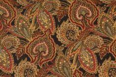 Sample of Bariloche-Cliffside in Black Swan Printed Linen Blend Drapery Fabric by Mill Creek $11.95 per yard