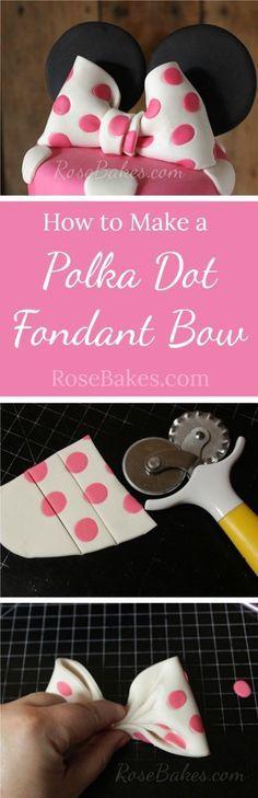 How to Make a Polka Dot Fondant Bow RoseBakes