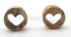 "7/16"" Pair Heart Tunnel Tamarind Wood Plugs Organic Hand Carved Body Piercing Jewelry gauge"