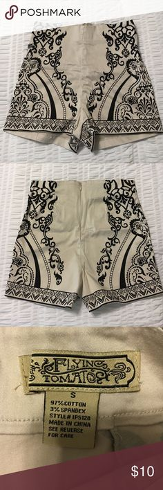 Printed Shorts Flying Tomato Printed Shorts - high waisted - cream/khaki color with black designs - worn once - size S Flying Tomato Shorts