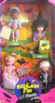 """Barbie KELLY Halloween Fun Li'l Friends of Kelly Gift Set - Target Special Edition (1998) by Mattel. $24.95. Includes: Deidre, Jenny, Kayla & Tommy; 4 Li'l Friends of Kelly Doll.. For Ages 3+ Years. WARNING: Choking Hazard/Small Parts.. Each doll is approx. 4.5"""" tall, & dolls are dressed in Halloween Costumes. See more details & info below in Product Description.. Target Special Edition Halloween Fun Li'l Friends of Kelly Gift Set is a 1998 Mattel production.. See more details ..."""