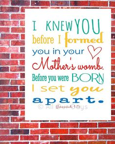 Jeremiah 1:5 Primary Brights // INSTANT DOWNLOAD // Scripture Print // Nursery Wall Art $5.00