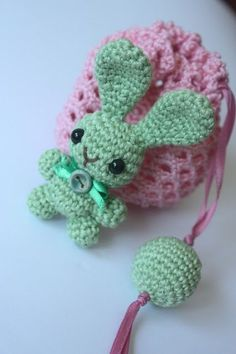 Happy Amigurumi shares a free pattern for this Cute Bunny and Gift Bag combo.  Super sweet and easy to follow!