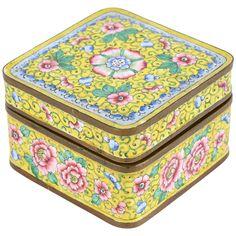 19th Century Enamel Canton Box