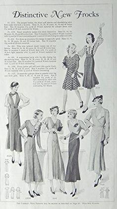Fashion Page, 30's B&W Illustration, print art, (Distinctive New Frocks) Original Vintage 1933 the Farmer's Wife Magazine Art