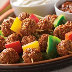 Mexican Meatball Kabobs Recipe. These are great for parties and as gameday appetizers. Diabetic Friendly, lower carb recipe from Diabetic Gourmet Magazine. DiabeticGourmet.com