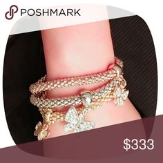 BUY 2 GET 2 FREE 💍BUTTERFLY BRACELET SET Light weight stretchy bracelets w sliding decorations. Great gift!  Gold, rose, and silver tone w rhinestones.  New in bag. Jewelry Bracelets