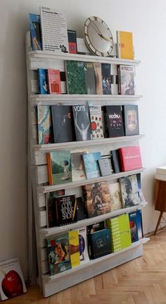 Recycle an old pallet for a bookcase.  This would be great in my classroom for displaying independent reading books!