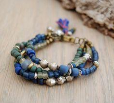 boho gypsy bracelet - hippie jewelry - multi strand beaded bracelet in blue and…