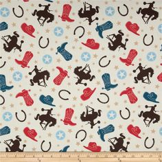 Riley Blake Round Up Main Cream from @fabricdotcom  Designed by Samantha Walker for Riley Blake, this cotton print is perfect for quilting, apparel and home decor accents.  Colors include cream, tan, brown, red and shades of blue.