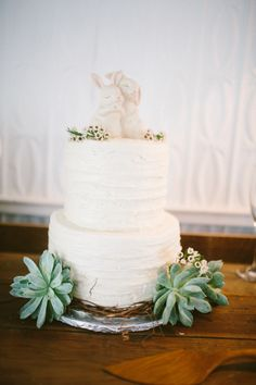 white buttercream wedding cake by The Garden Market  http://www.weddingchicks.com/2013/09/06/intimate-country-elopement/
