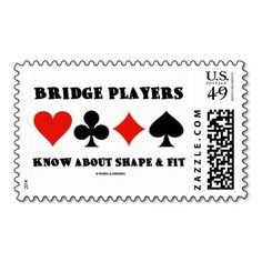 """Elevate Your Thinking Play Duplicate Bridge Postage Here's postage featuring the four card suits along with the sound bridge advice """"Elevate Your Thinking Play Duplicate Bridge"""". Duplicate Bridge, Bridge Game, Cork Coasters, Pillow Box, Self Inking Stamps, I Am Game, Postage Stamps, Card Games, Hold On"""