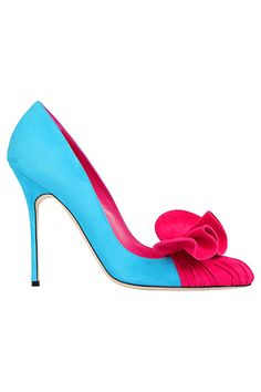 Manolo Blahnik Blue  Red Pumps Spring Summer 2013 #Shoes #Manolos #Heels