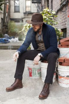 Blue cardy, banded collar shirt, waistcoat, red wing iron rangers