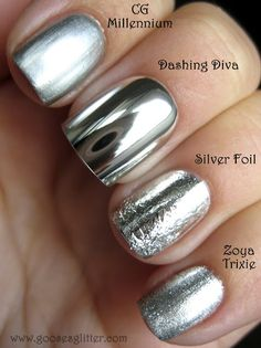 "Chrome Nail Comparison: this blog compares the ""mirror"" chrome fake nails with the chrome nail polish. Good info!  I LOVE the way chrome nails look."
