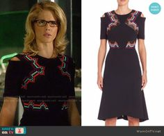 Felicity's black embroidered dress on Arrow.  Outfit Details: https://wornontv.net/62913/ #Arrow