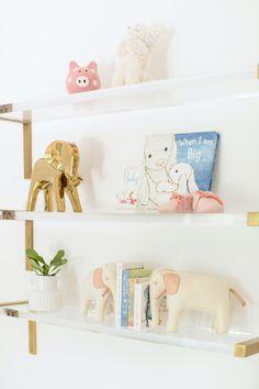 acrylic-wall-shelves Blue Nursery Girl, Baby Girl Nursery Decor, Nursery Design, Nursery Ideas, Nursery Shelves, Wall Shelves, Vine Girls, Dream Baby, Project Nursery