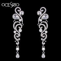 3.84$  Watch now - Luxury Crystal Wedding Earrings Rhinestone Silver Long Earrings for Women Bridal Statement Earrings Fashion Jewelry ers-h69   #aliexpress