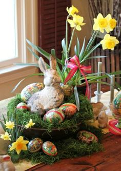 Love this table decor for Easter.