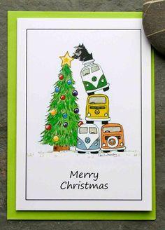vw camper/kombi greetings cards by AudreysAdventures on Etsy Christmas Drawing, Christmas Love, Merry Christmas, Xmas, T3 Vw, Volkswagen Bus, Volkswagen Beetles, Vw Camper, Ferdinand Porsche