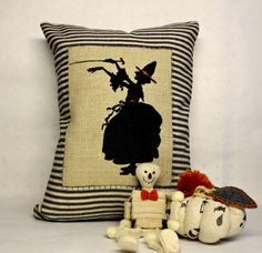 Wicked Witch Screen Printed Pillow - Halloween Pillow - Orange Accented Pillow -