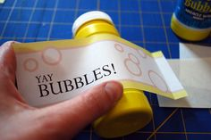 Printable free bubble labels for party favors could do these with whatever theme you choose