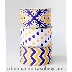 LSU Football Chevron, Polka, and Mosaic Ribbon EXCLUSIVELY from Ribbon And Bows Oh My!