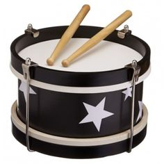 Black wooden drum for kids by Kids Concept. This wooden drum from Kid's Concept will provide our little musicians a lot of fun. Comes with 2 wooden drumsticks. Drums For Kids, Baby Wish List, Modern Toys, Toy Camera, Black Kids, Baby Play, Classic Toys, Baby Shop, Archie