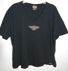 HARLEY-DAVIDSON T Shirt Womens XL Short Sleeve V Neck Black #HarleyDavidson #BasicTee