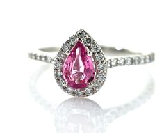 Breathtakingly beautiful... a girl can dream! 14K Pink Sapphire Engagement Ring Pear Diamond Halo by RareEarth, $1720.00