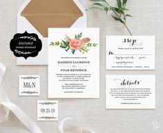 Wedding Invitation Template Printable Floral by VineWedding