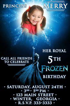 Disney Frozen Birthday party Invitation card digital file girl Princess Elsa DIY