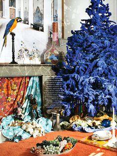 Boho Christmas with blue tree + macaw + texture + prints Bohemian Christmas, Blue Christmas, Christmas Home, Christmas Holidays, Holiday Themes, Holiday Decor, Alternative Christmas Tree, Christmas Wonderland, Xmas Tree