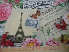 Elizabeth's Studio Fabric Spring in Paris Collage Cream Eiffel Tower Monuments