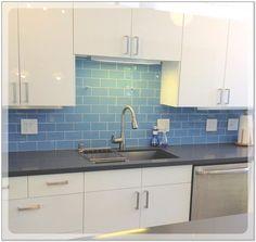 Image result for blue kitchen tile backsplash