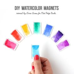 Make fun and colorful watercolor magnets - a simple quick craft!