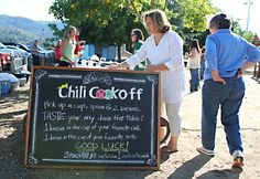 Wine Sisterhood sponsored bocce chili cookoff  chalk board sign at the entrance- directions!