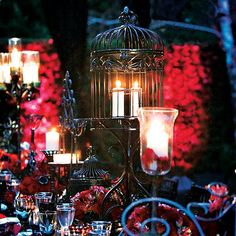 Outdoor decor for a goth wedding. The candles add such beautiful light to the space. Gothic Wedding Decorations, Halloween Wedding Centerpieces, Halloween Weddings, Centerpiece Wedding, Chic Wedding, Wedding Styles, Dream Wedding, Wedding Ideas, Wedding Stuff