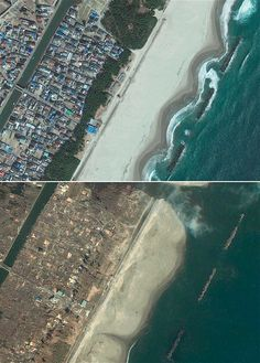 Japan disaster: 30 powerful images of the earthquake and tsunami. GeoEye satellite, before and after the tsunami caused by earthquake. Japan Earthquake, Earthquake And Tsunami, Natural Phenomena, Natural Disasters, Tsunami Waves, Earth Powers, Post Apocalyptic Art, Scary Places, Powerful Images