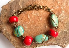 Turquoise Bracelet,Turquoise Jewelry,Red Coral and Turquoise Bracelet,Chunky Jewelry on Etsy, $24.67 CAD