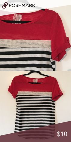 Striped Top Unique black and white striped top with a cream panel. Cuffed sleeves. Loose fitting and never worn! Mauve Tops Blouses