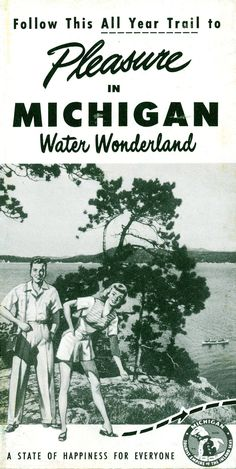 Vintage Michigan travel brochure cover. ShopPeninsulas.com