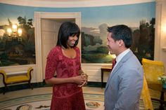 First Lady Michelle Obama meets with Inauguration 2013 citizen co-chair David Hall at the White House. Join them for a National Day of Service on Saturday, January 19th: http://2013pic.org/service
