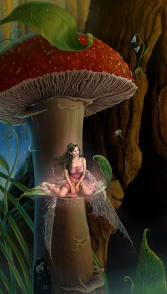 """""""Wishes Can Start Small"""" by `mynti on deviantART ... Fairy sitting beneath a strawberry topped toadstool"""