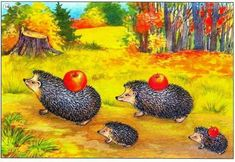 Brut Cute Hedgehog, Woodland Forest, Printable Crafts, Forest Animals, Cute Drawings, Cute Pictures, Clip Art, Illustration, Painting