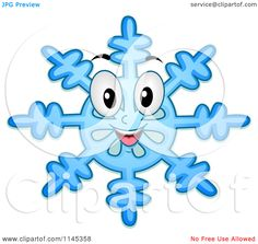 Cartoon of a Happy Blue Snowflake Mascot - Royalty Free Vector Clipart by BNP…