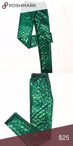 Green Mermaid Yoga Leggings This are not ALO Yoga**Workout with style with this Crazy Yoga Leggings. Lycra material ALO Yoga Pants Leggings