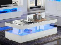 Table basse design en mdf coloris blanc laqué   Table basse du salon ...