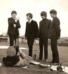 The Beatles on location filming A Hard Days Night.